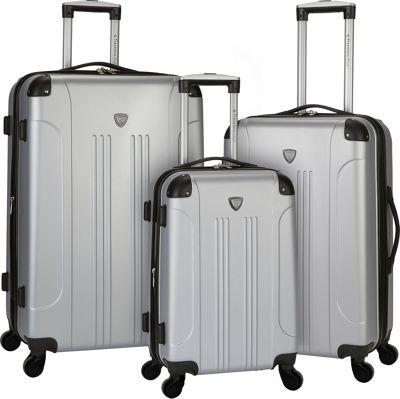 Travelers Club Luggage Chicago 3PC Hardside Expandable Spinner Luggage Set Silver - Travelers Club Luggage Luggage Sets