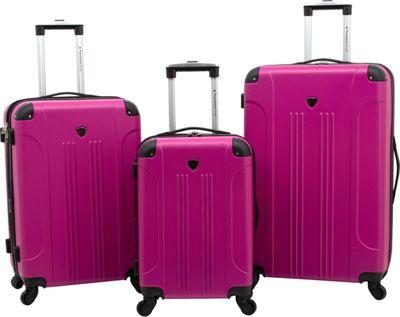 Travelers Club Luggage Chicago 3PC Hardside Expandable Spinner Luggage Set Fushcia - Travelers Club Luggage Luggage Sets