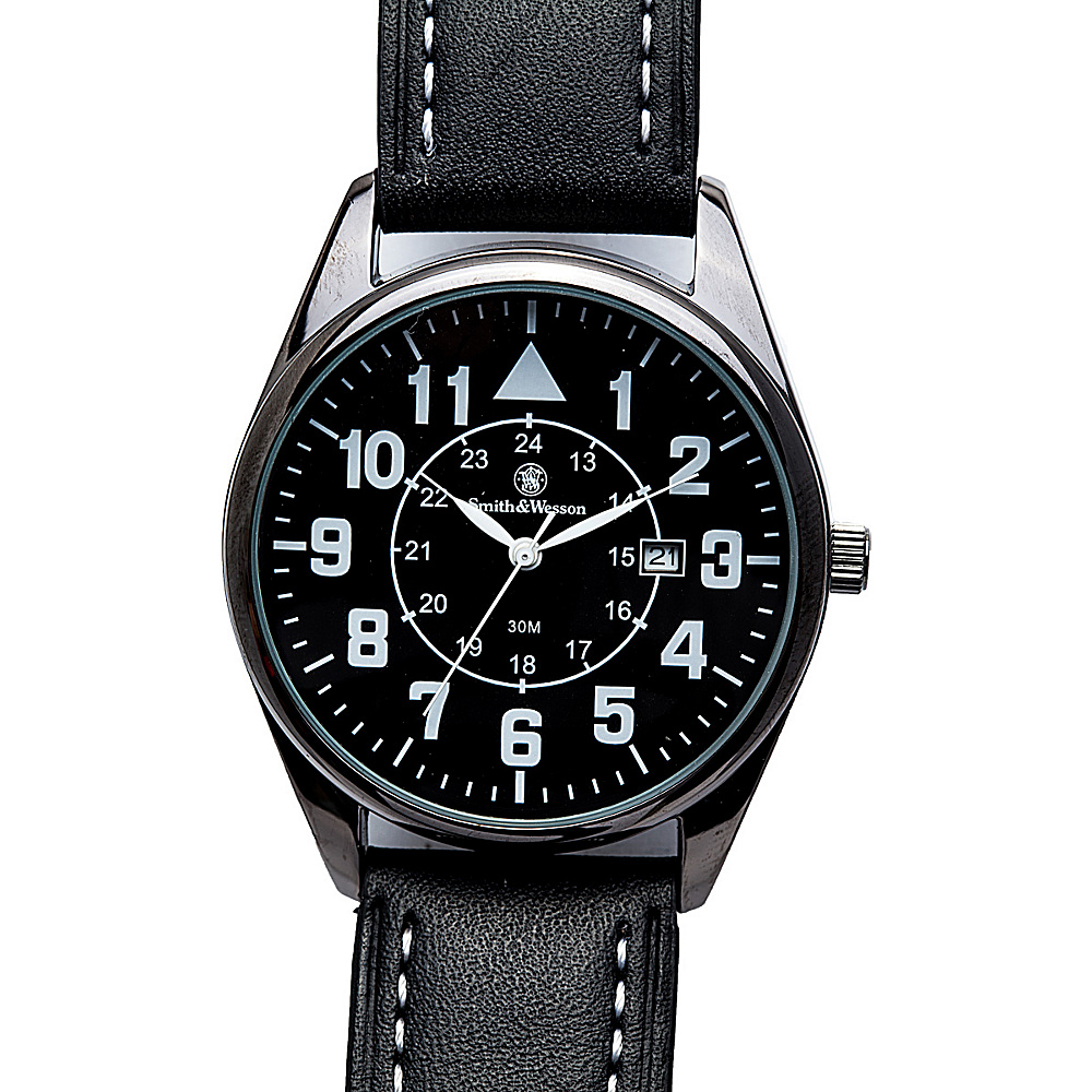 Smith & Wesson Watches Civilian Watch with Leather Strap Black - Smith & Wesson Watches Watches