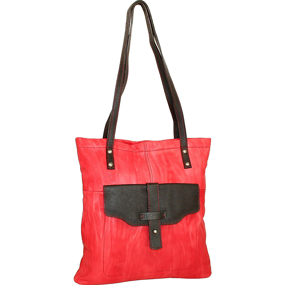 Nino Bossi Squeeze My Slim Tote Red Nino Bossi Leather Handbags