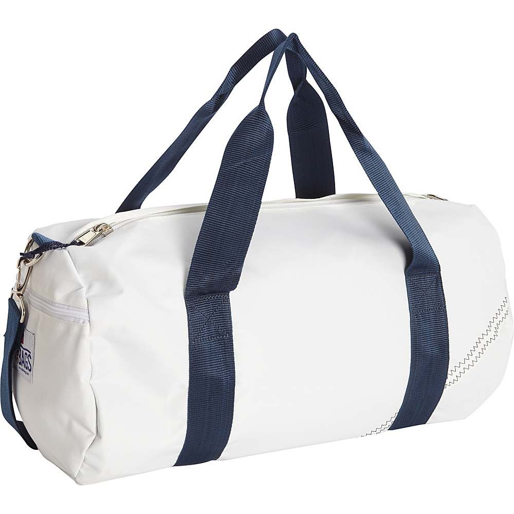 SailorBags Round Duffel White Blue SailorBags Travel Duffels