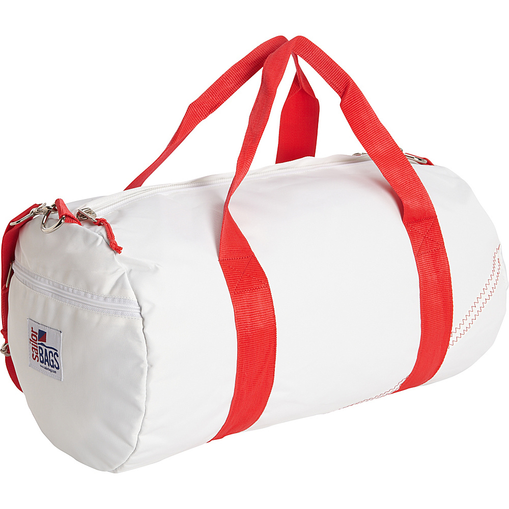 SailorBags Round Duffel White Red SailorBags Travel Duffels