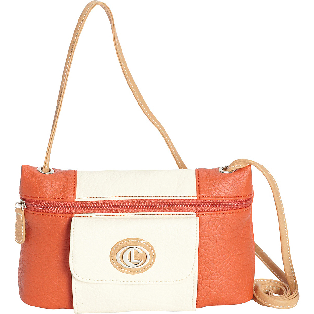 Aurielle Carryland Vertical Color Block Mini Crossbody Poppy Ivory Aurielle Carryland Manmade Handbags