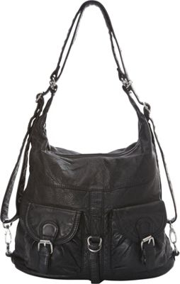 Image of Ampere Creations Janey Jane Convertible Crossbody Backpack Black - Ampere Creations Manmade Handbags