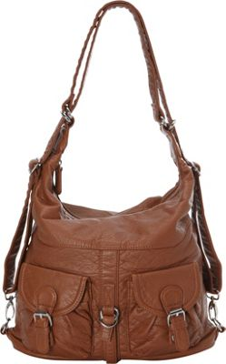 Image of Ampere Creations Janey Jane Convertible Crossbody Backpack Brown - Ampere Creations Manmade Handbags