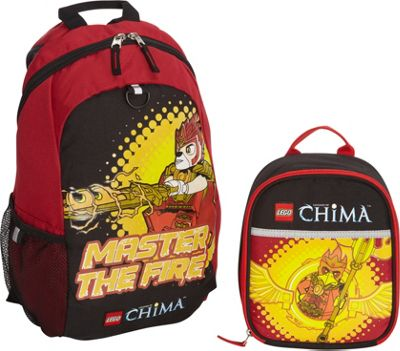 LEGO Chima Masters Of Fire Backpack & Masters Of Fire Lunch Bag RED - LEGO School & Day Hiking Backpacks