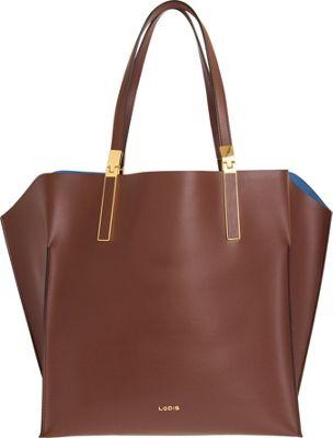 Lodis Blair Unlined Lucia Travel Satchel Chestnut/Cobalt - Lodis Leather Handbags