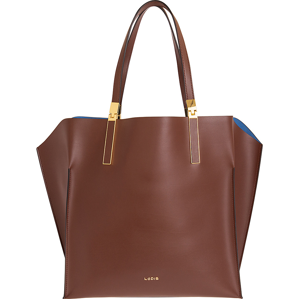 Lodis Blair Unlined Lucia Travel Satchel Chestnut/Cobalt - Lodis Leather Handbags - Handbags, Leather Handbags