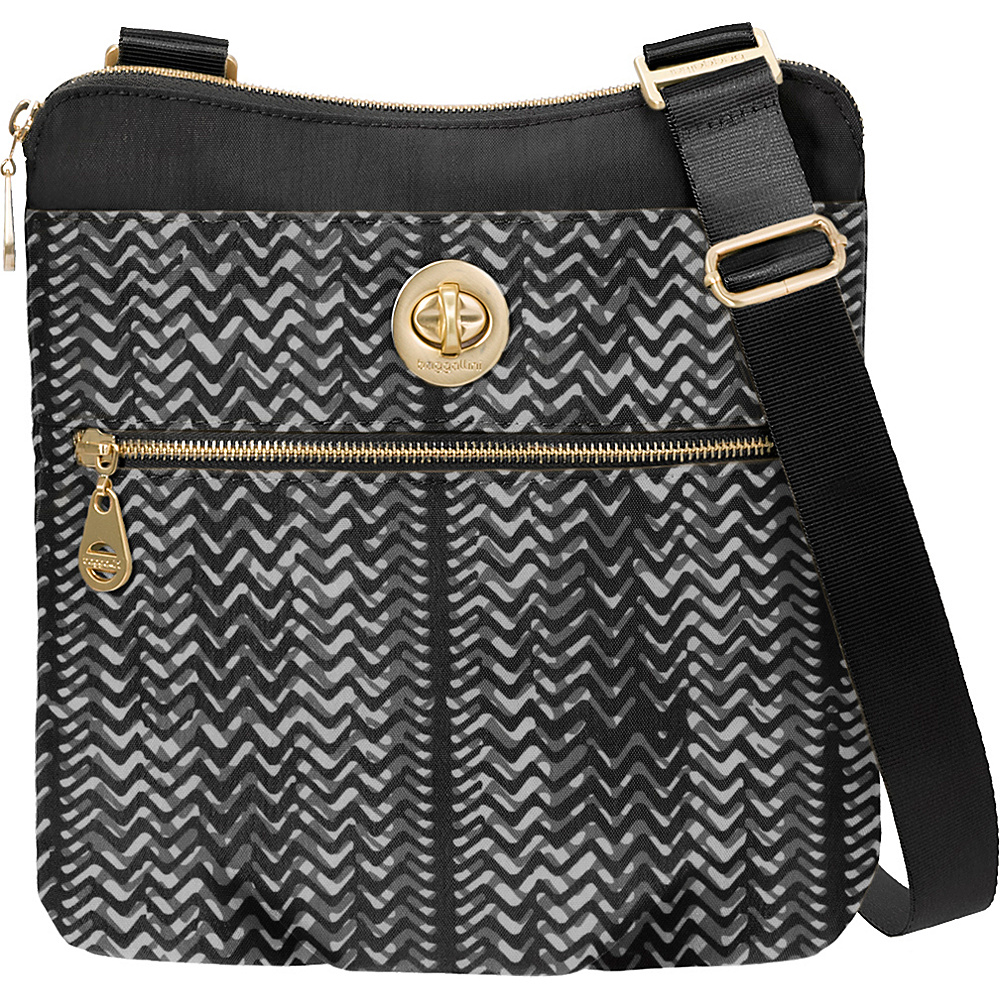 baggallini Gold Hanover Crossbody Black/White Illusion Print - baggallini Fabric Handbags - Handbags, Fabric Handbags
