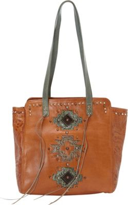 American West Navajo Soul Zip Top Tote Golden Tan - American West Leather Handbags