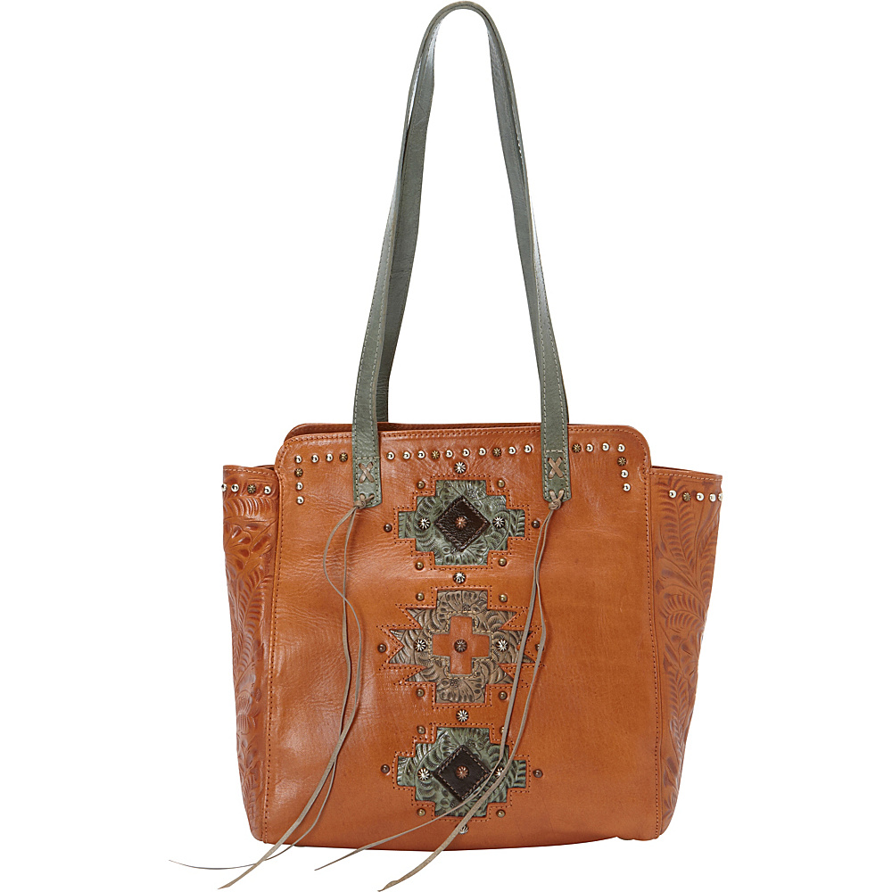 American West Navajo Soul Zip Top Tote Golden Tan American West Leather Handbags