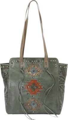 American West Navajo Soul Zip Top Tote Turquoise - American West Leather Handbags
