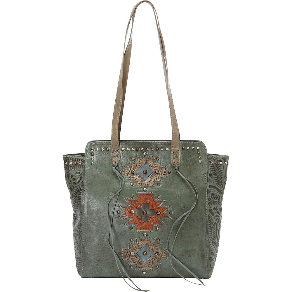 American West Navajo Soul Zip Top Tote Turquoise American West Leather Handbags