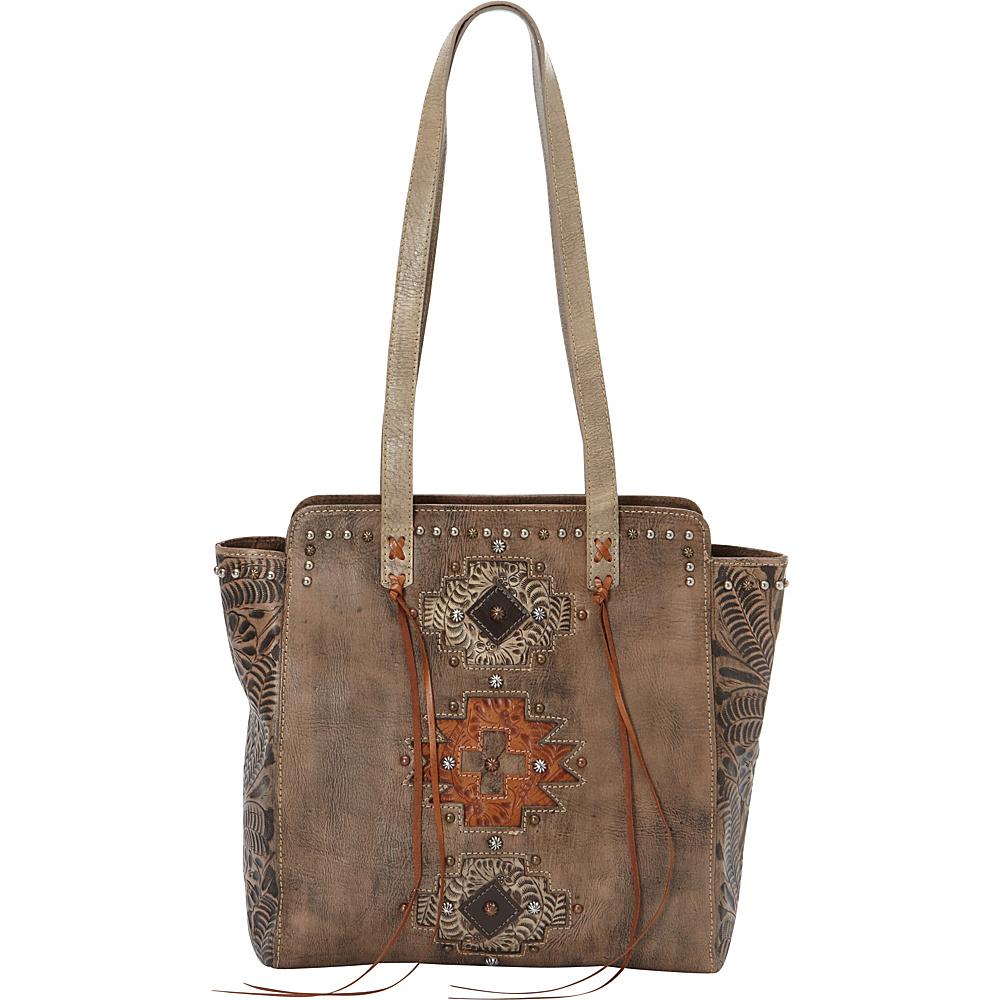 American West Navajo Soul Zip Top Tote Distressed Charcoal Brown American West Leather Handbags
