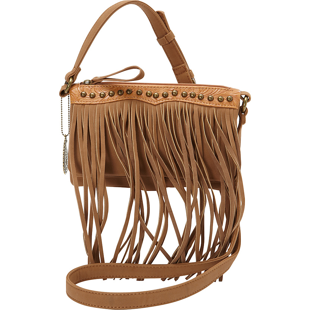 Bandana Sun Valley Fringe Crossbody Wallet Tan Bandana Manmade Handbags