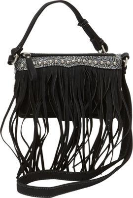 Bandana Sun Valley Fringe Crossbody/ Wallet Black - Bandana Manmade Handbags