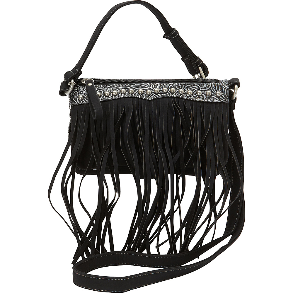 Bandana Sun Valley Fringe Crossbody Wallet Black Bandana Manmade Handbags