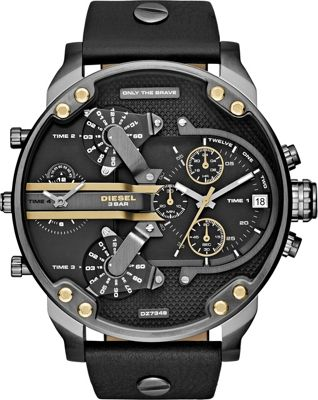 Diesel Watches Mr. Daddy 2.0 Multifunction Leather Watch Black/Gold - Diesel Watches Watches