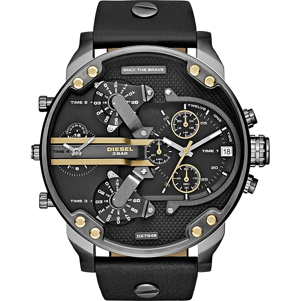 Diesel Watches Mr. Daddy 2.0 Multifunction Leather Watch Black Gold Diesel Watches Watches