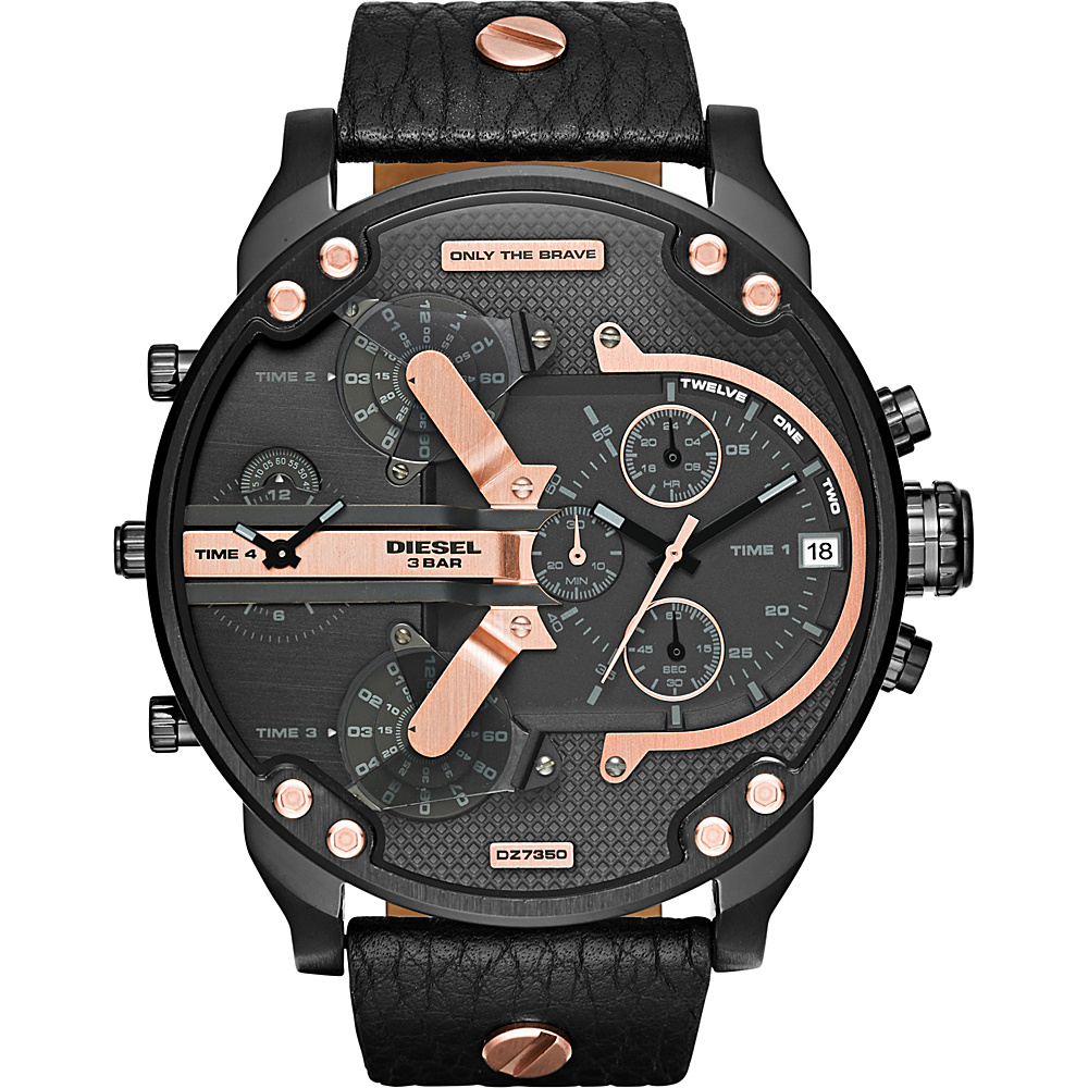 Diesel Watches Mr. Daddy 2.0 Multifunction Leather Watch Black Rose Gold Diesel Watches Watches