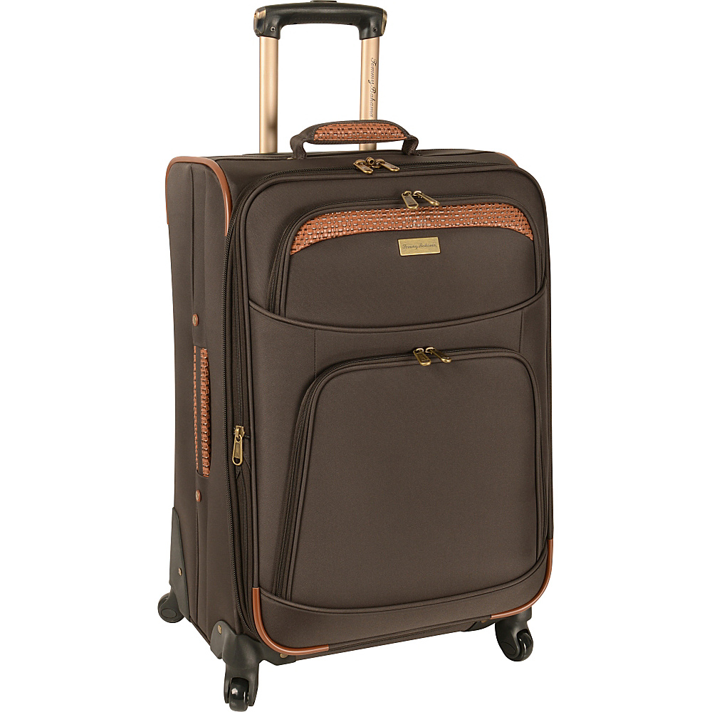 Tommy Bahama Santorini 24 Expandable Spinner Dark Brown Cognac Tommy Bahama Softside Checked