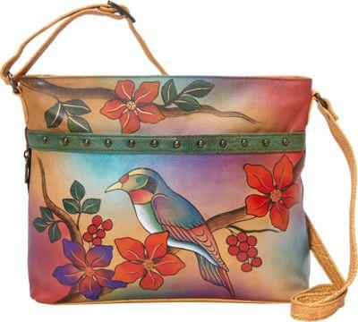 ANNA by Anuschka Medium Organizer Crossbody Bird on Branch - ANNA by Anuschka Leather Handbags
