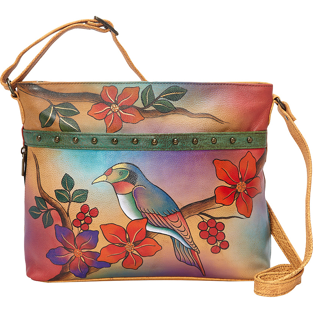 ANNA by Anuschka Medium Organizer Crossbody Bird on Branch ANNA by Anuschka Leather Handbags