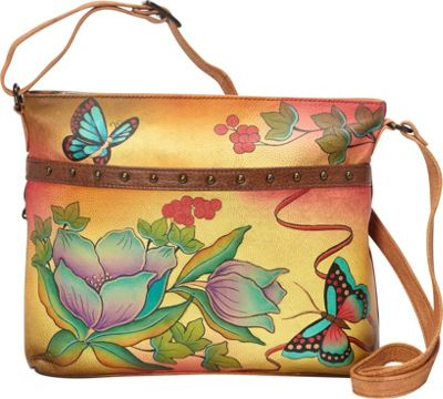ANNA by Anuschka Medium Organizer Crossbody Country Flower - ANNA by Anuschka Leather Handbags