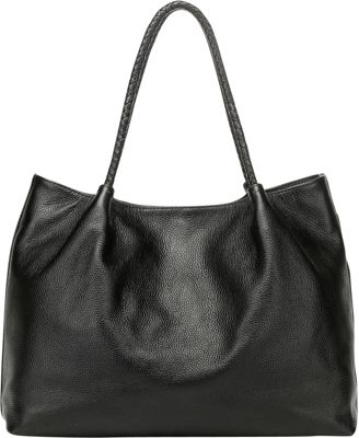 Vicenzo Leather Nicole Leather Tote Shoulder Handbag Black - Vicenzo Leather Leather Handbags