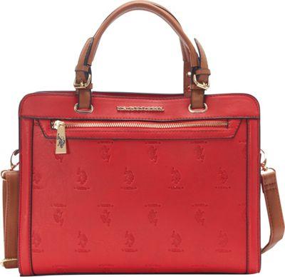 U.S. Polo Association Logo Embossed Logo Satchel Red/Cognac - U.S. Polo Association Manmade Handbags