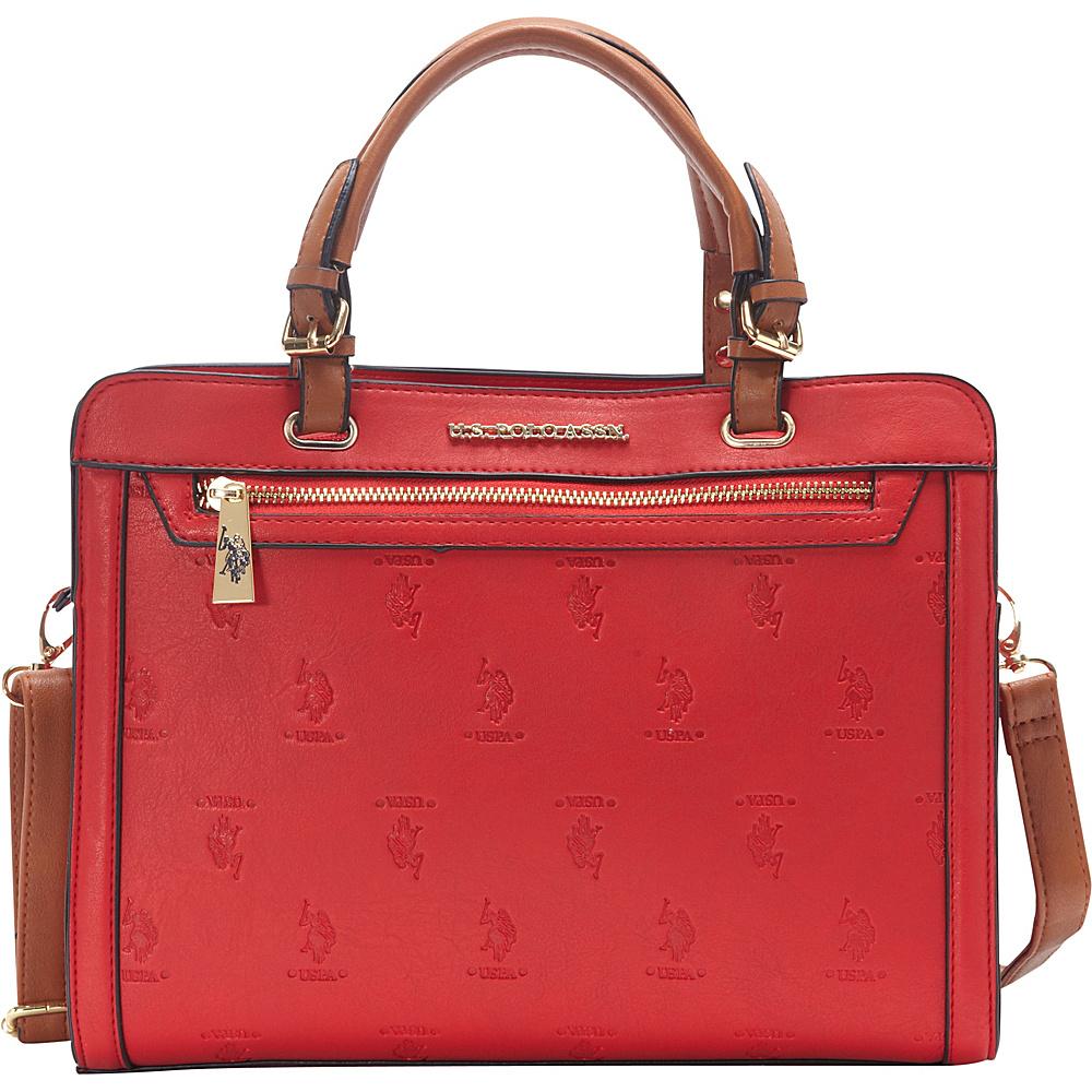 92c5d1e852f6 U.S. Polo Association Logo Embossed Logo Satchel Red Cognac - U.S. Polo  Association Manmade Handbags