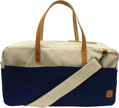 Maker & Co Two-Tone Canvas Duffle Bag Navy - Maker & Co Travel Duffels
