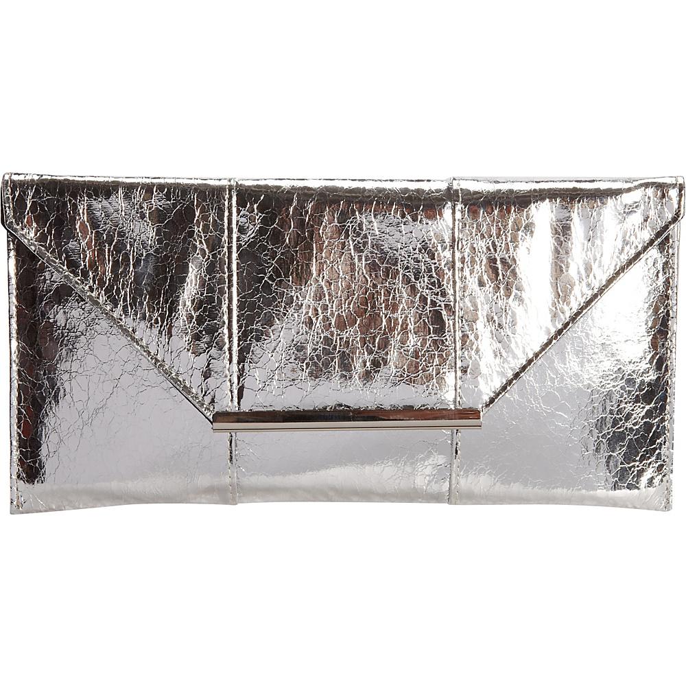 JNB Metallic Clutch Silver JNB Manmade Handbags