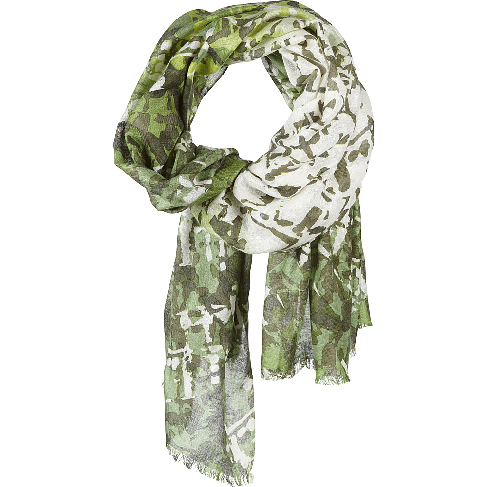 Kinross Cashmere Batik Print Scarf Evergreen Multi Kinross Cashmere Hats Gloves Scarves