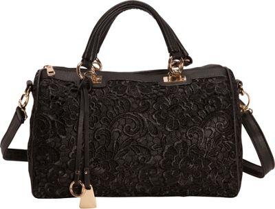 SW Global Dania Retro Lace Boston Satchel Bag Black - SW Global Manmade Handbags