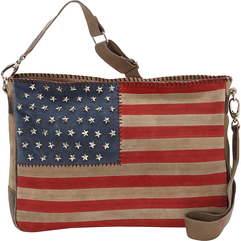 Scully Suede Flag Crossbody with Studded Stars Red White and Blue Scully Leather Handbags
