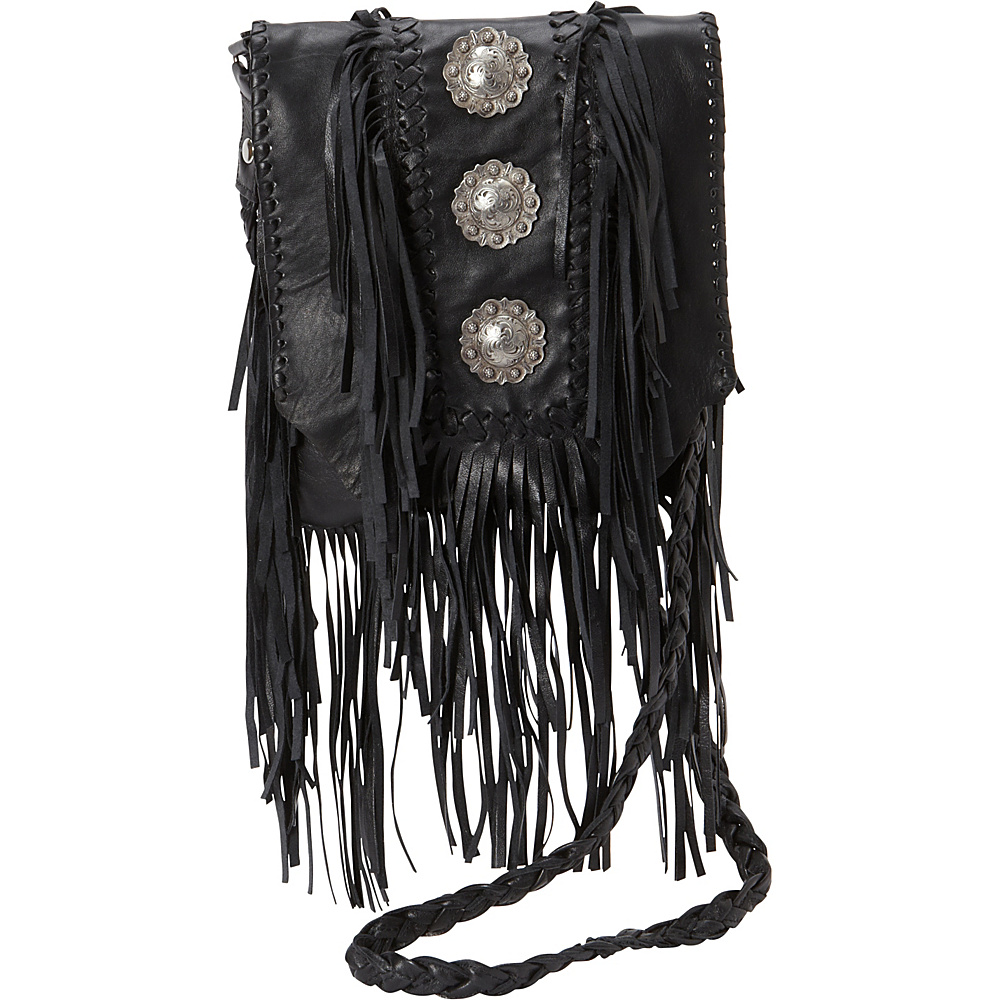 Scully Full Flap with Three Conchos and Fringe Shoulder Bag Black Scully Leather Handbags