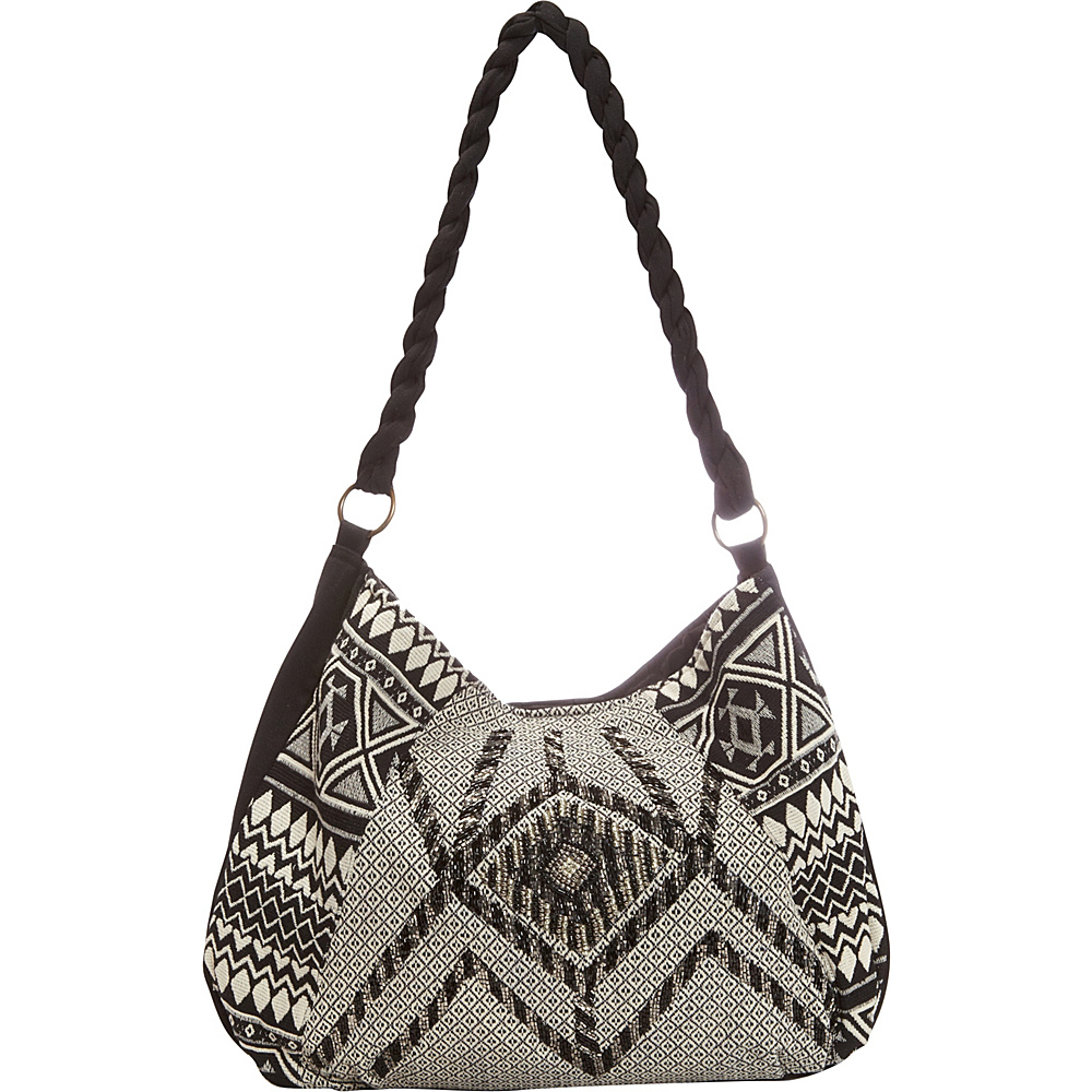 Scully Beaded Shoulder Bag with Aztec Print Black Scully Fabric Handbags
