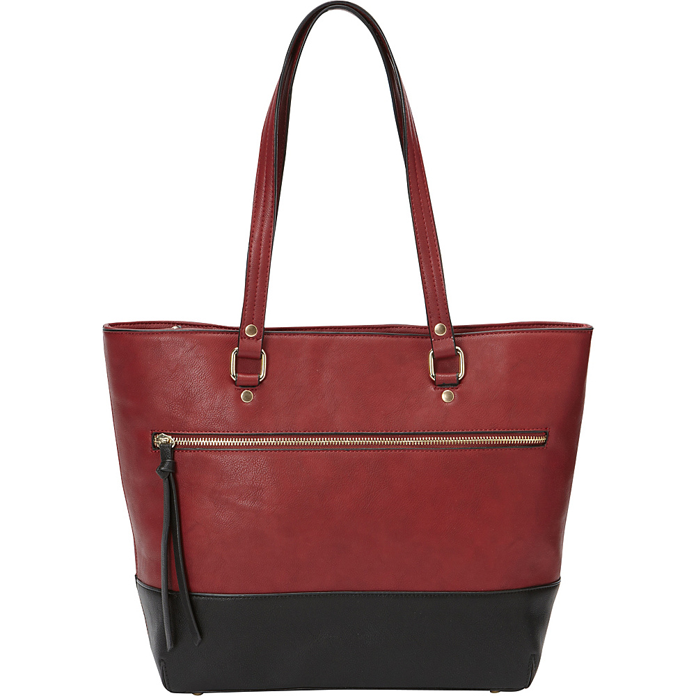 Medici RFID Two-Tone E/W Shopper Tote Merlot/Black - Medici Manmade Handbags
