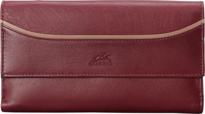 Mancini Leather Goods RFID Secure Gemma Medium Clutch Wallet Burgundy - Mancini Leather Goods Women's Wallets
