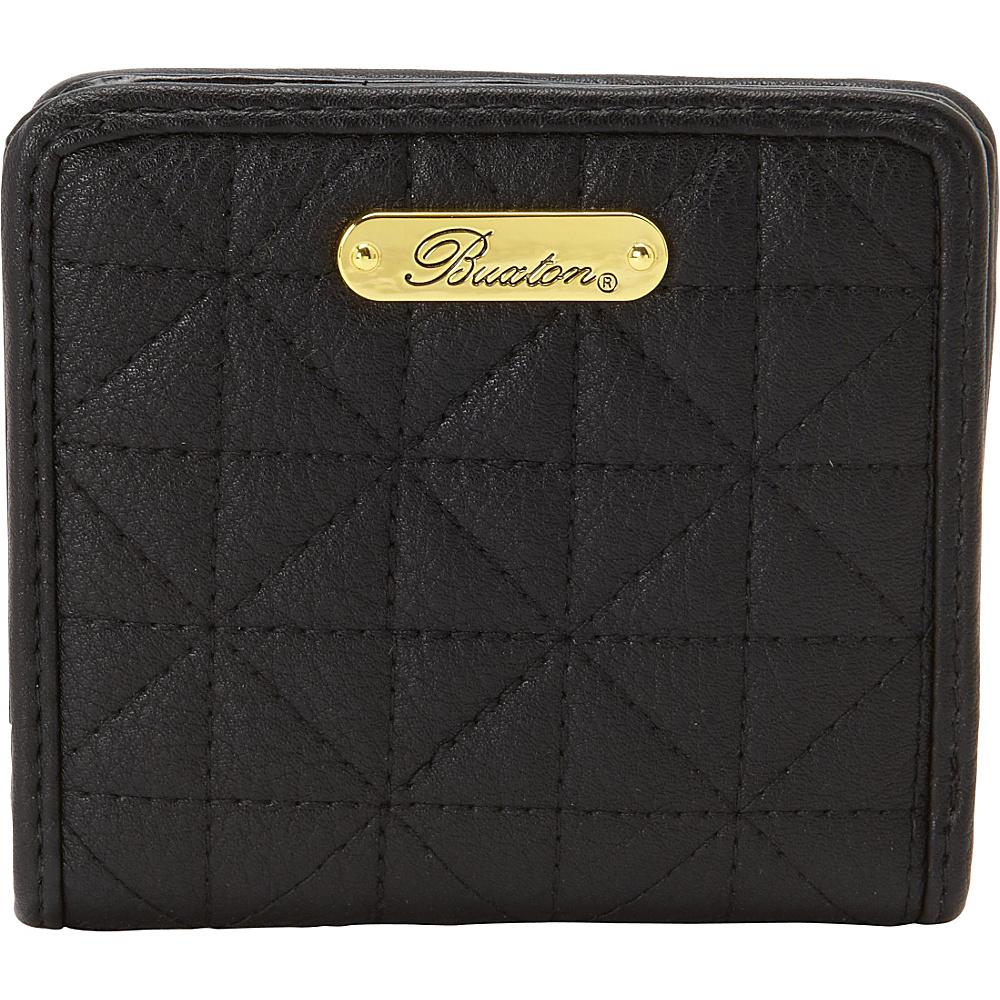 Buxton Double Diamond Quilt Medium Snap Billfold Black - Buxton Womens Wallets - Women's SLG, Women's Wallets