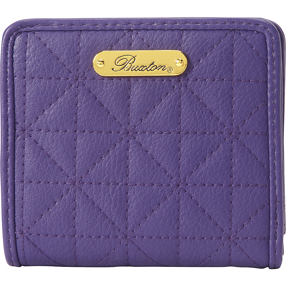 Buxton Double Diamond Quilt Medium Snap Billfold Mulberry - Buxton Womens Wallets - Women's SLG, Women's Wallets