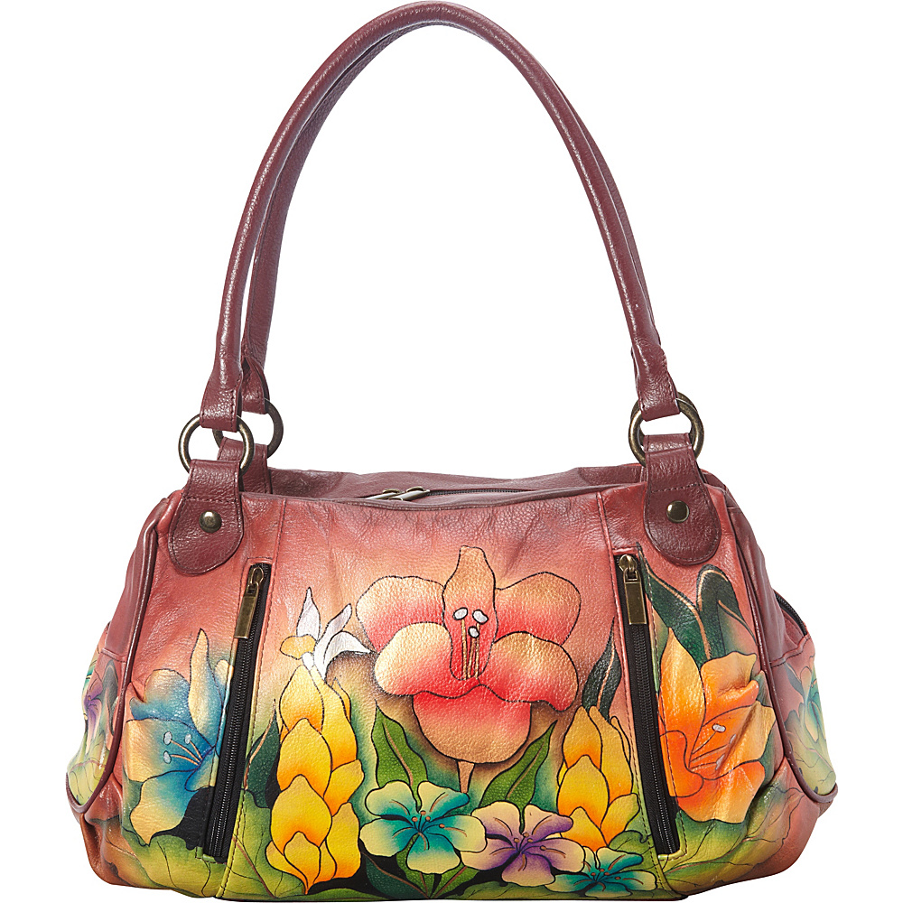 ANNA by Anuschka Hand Painted Ruched Large Satchel Mediterranean Garden ANNA by Anuschka Leather Handbags