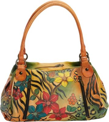 ANNA by Anuschka Hand Painted Ruched Large Satchel Safari Bloom - ANNA by Anuschka Leather Handbags