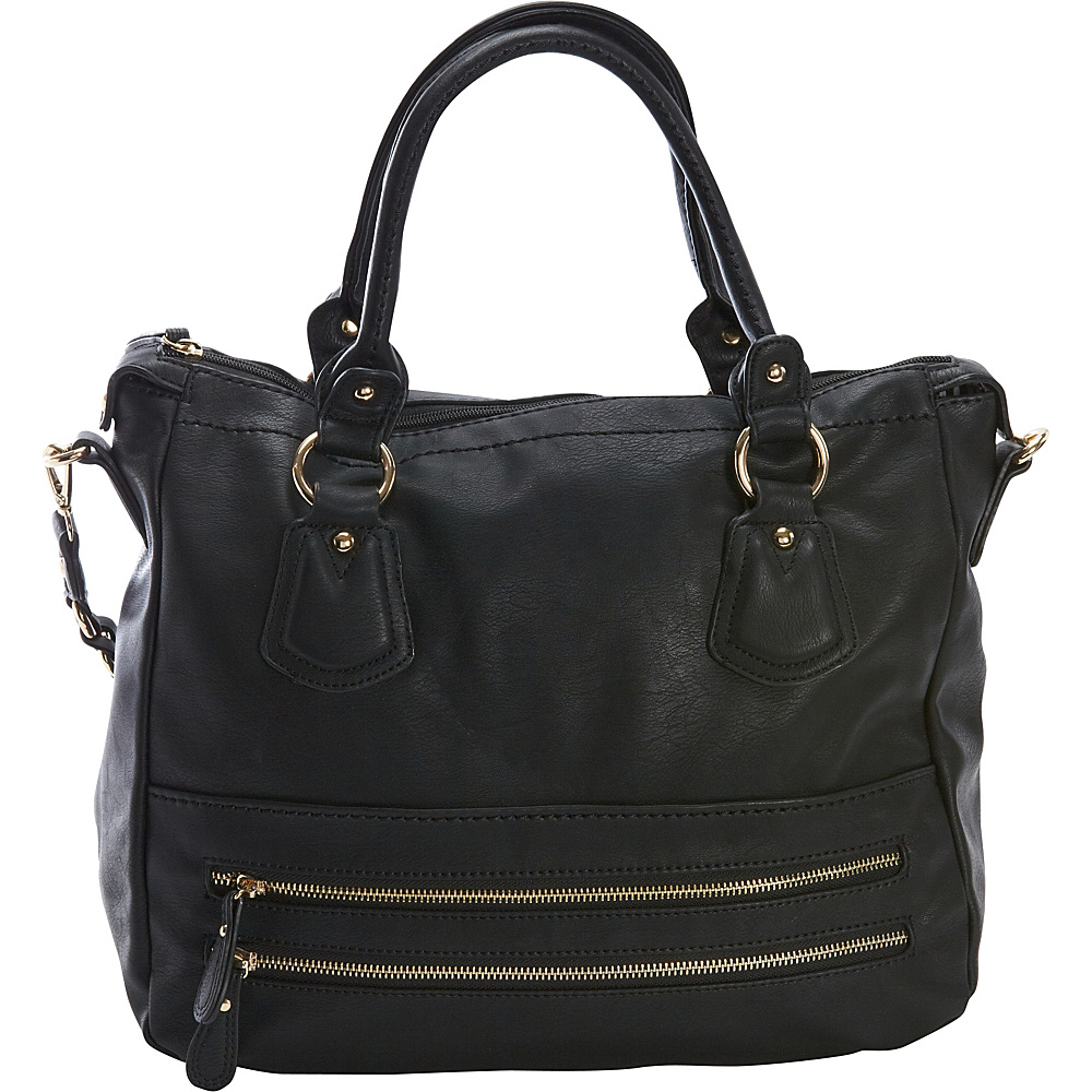 Diophy Zippered Pocket Satchel Black Diophy Manmade Handbags