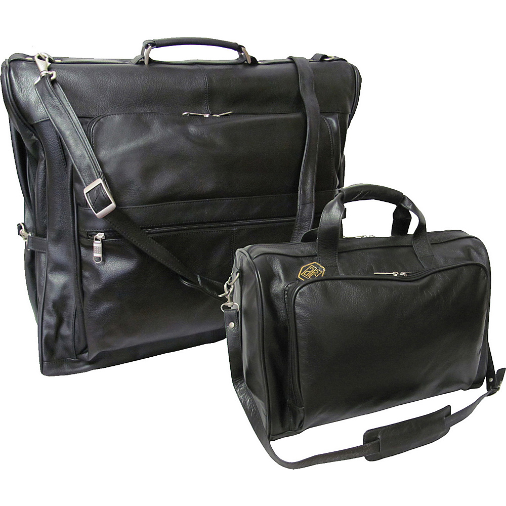 AmeriLeather Leather Two Piece Set Traveler Black - AmeriLeather Garment Bags - Luggage, Garment Bags
