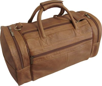 Image of AmeriLeather 20 Leather Dual Zippered Duffel Distressed Brown - AmeriLeather All Purpose Duffels