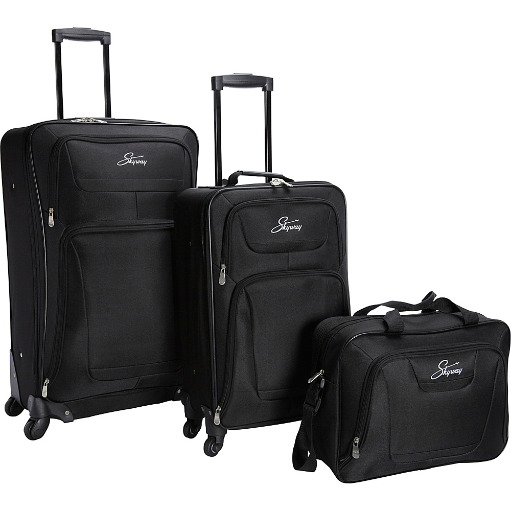Skyway Glacier Peak 3 Piece Spinner Travel Set Black Skyway Luggage Sets