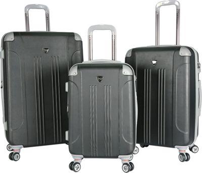 Travelers Club Luggage Chicago 2.0 3PC Hardside Expandable Double Spinner Luggage Set - Upgraded Black - Travelers Club Luggage Luggage Sets
