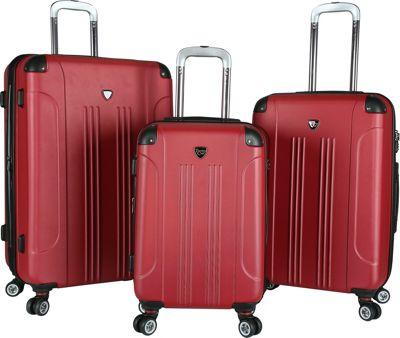 Travelers Club Luggage Chicago 2.0 3PC Hardside Expandable Double Spinner Luggage Set - Upgraded Cherry Red - Travelers Club Luggage Luggage Sets
